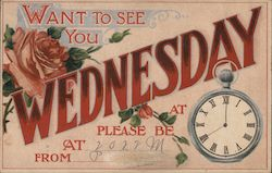 Want To See You Wednesday - Floral, with Watch Hands Drawn On Postcard