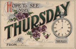 Hope to See You Thursday at _____ Sharp Postcard