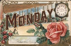 Monday and Clock and Rose Postcard