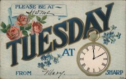Tuesday - Appointment Card - Flowers and Pocket Watch Postcard
