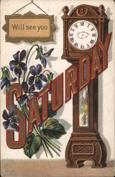 Will See You Saturday - Appointment Card - Lettering, Grandfather Clock and Violets Postcard