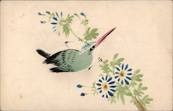 Artistic painting of bird, and flowers on a branch Postcard