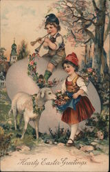 Boy On Egg Girl Flowers Lamb Hearty Easter Greetings Art