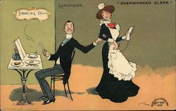 Comic postcard showing a man barely working during a working lunch touching an overworked female Postcard