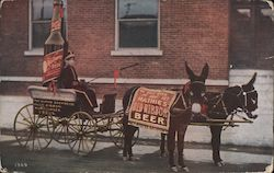 Mathie's Red Ribbon Beer - photo of giant novelty beer bottle cart drawn by donkeys Postcard
