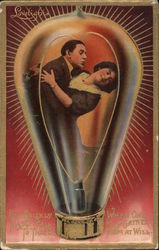 A Man and a Woman Hugging in a Lightbulb