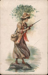 Woman Holds Fishing Rod, With Tackle Basket Over Shoulder