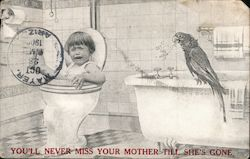 Boy falling in toilet with parrot watching Postcard