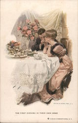 """The First Evening in Their Own Home"". A couple snuggles at a dinner table with flowers on it."