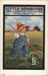 Young Boy in Farmer's Hat and Overalls Rakes Grass Over Dog in Field