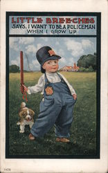 Young Boy Dressed In Overalls with Policeman's Hat, Badge, and Club with Small Dog in Grassy Field