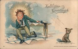 Valentine Greetings - cartoon of man at messy desk, with dog looking on Postcard