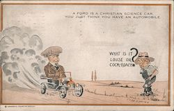 """A Ford is a Christian Science Car"" - cartoon of man confusing small car with bug to stomp"