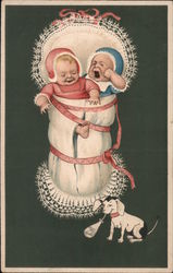 Two Babies Crying Over Stolen Milk Postcard