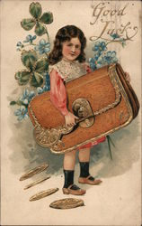 Good Luck, Little Girl Holds Large Purse Dropping Large Coins