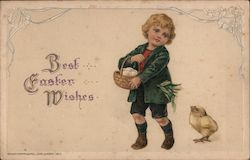 "Boy with chick: ""Best Easter Wishes"""