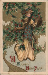 A Happy New Year - Woman With a Fox Stole and Muff, Holly Berries Postcard