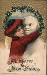 Woman Hugging Snowman: A Happy New Year Postcard