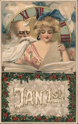 January 1st, Clock, Father Time, Woman with a Book Postcard