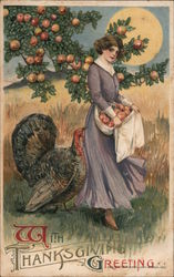 With Thanksgiving Greeting - Women picking apples with a turkey