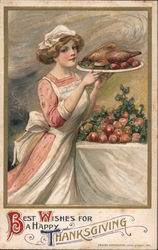 Woman Serving Thanksgiving Turkey Postcard