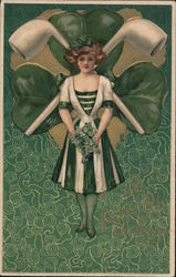 Pretty woman dressed mostly in green, shamrock and crossed pipes, green pattern background. Postcard