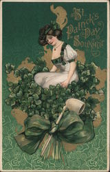 St. Patrick's Day Souvenir - Woman, Shamrock and Pipe on Green Background Postcard