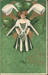 St Patrick's Day Greetings - woman in green, with crossed pipes and shamrock behind her Postcard