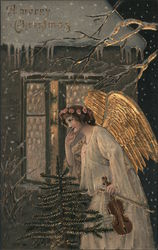 Angel Listening at Window of Home: A Merry Christmas