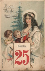 Buon Natale - Dicembre 25. Mother reading to her children by Christmas tree