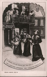 A Merry Xmas - women in fine dresses, singing for neighbors Postcard