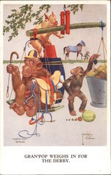 """Gran'pop Weighs in for the Derby."" - monkey weighs in dressed as jockey. ""GRAN'POP"" SERIES Postcard"
