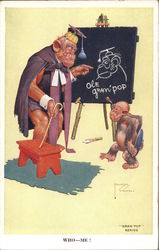 """Gran' Pop"" Series. Monkey teacher in clothes teaching young monkey Postcard"
