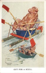 Out for a Scull, Lawson Woods, Grain Pop Series Monkeys paddling down a river Postcard