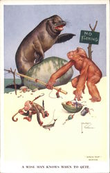 2 Monkey's fishing, Seal on rock pointing at no fishing sign Postcard