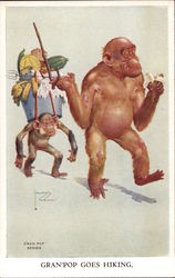 Illustrated elderly gorilla on a stroll with young gorilla in tow with burden. GRAN'POP GOES HIKING Postcard