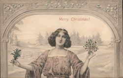Woman Holding Bouquets: Merry Christmas! Postcard