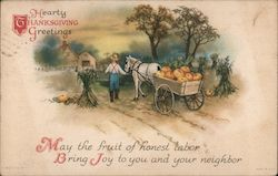 Hearty Thanksgiving Greetings - Farmer With Pumpkin Harvest in Horse-Drawn Cart