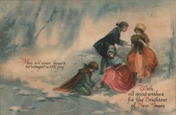 Children Play in Snow by Pond, With All Good Wishes for the Brightest New Years