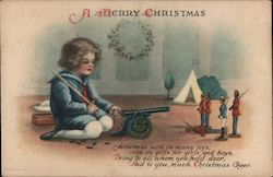 Christmas illustration of a small boy child playing with a 1900s military toy set w/ cannon & sword