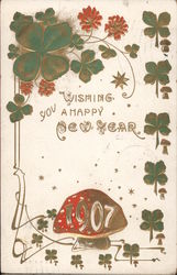Wishing You a Happy New Year 1907 Mushrooms