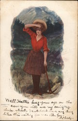 A Female Miner with Pickaxe Shields Her Eyes to Look into the Distance Postcard