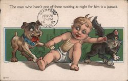 Baby Boy Playing with Dogs Postcard