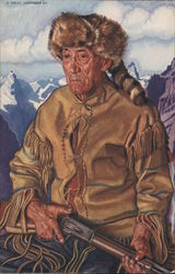 Tom Dawson - Mountain Man dressed in native skins and raccoon hat