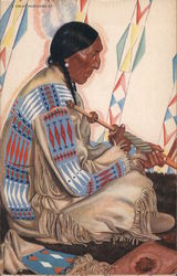 Sideview illustration of Blackfeet Indian Chief, Sundance, seated upon floor in traditional attire