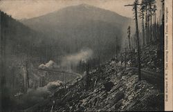 Great Northern Railroad Train entering Horseshoe Tunnel, Washington State