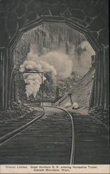 Great Northern Railroad entering Horseshoe Tunnel, Cascade Mountains, Washington