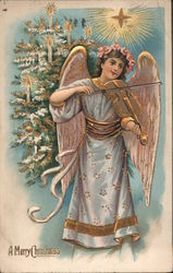 Angel Playing Violin Star Christmas Tree A Merry Christmas