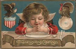 Child Praying at Table: Thanksgiving Greetings