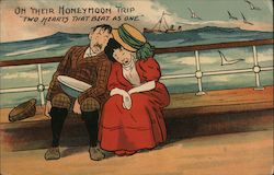 Seasick Man and Woman Fall Asleep on Each Other on Ship at Sea Postcard